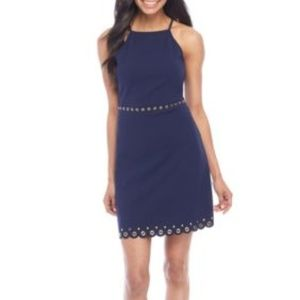 New Michael Kors Navy Scallop Hem Grommet Dress